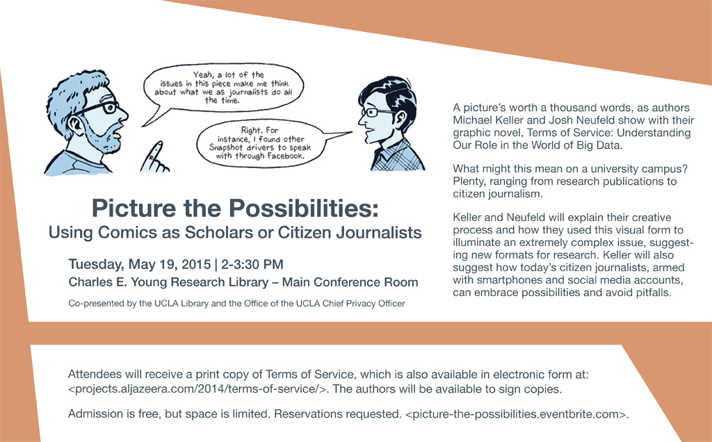 Poster for event titled: Picture the Possibilities: Using Comics as Scholars or Citizen Journalists